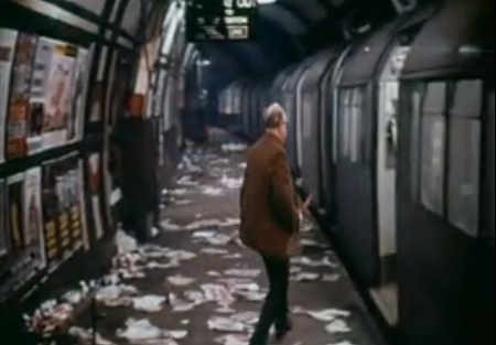 Arthur Lowe catches the tube in The Bed-Sitting Room